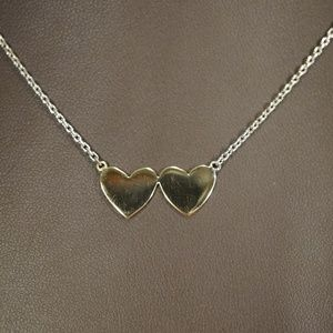 "14K Two Tone Gold Handmade 2 Heart 19"" Necklace"